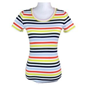 J. Crew Striped Cotton Perfect Tee Short Sleeves